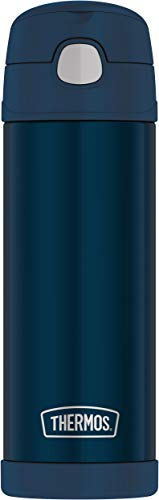 THERMOS FUNTAINER 16 Ounce Stainless Steel Vacuum Insulated Bottle with Wide Spout Lid, Navy