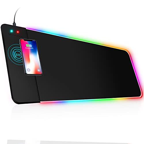 MrCuvaryas RGB Gaming Mauspad XXL LED Mousepad Großes 800 x 300 x 4mm 14 Beleuchtungsmodi mit 10W Schnellladung Qi Wireless Charging für Handy, Kopfhörer USW