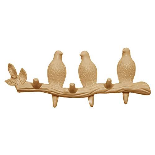 #N/a Gancho de pared colgador de abrigo, pájaros en la rama de árbol colgador de abrigo montado en la pared, decoraciones de pared accesorios para el hogar - Pearl 3 pájaro