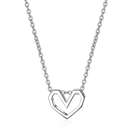 Collar hueco en forma de corazón para mujer, joyería de plata 925, cadena corta de clavícula, Color dorado, regalo de adorno para el cuello de niña joven