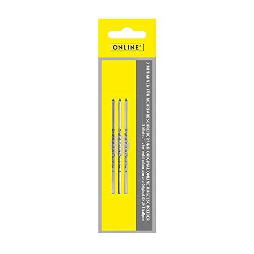 3x Mini-Kugelschreiber Ersatzminen von Online, Internationale Standard D1 Minen, Strichstärke M, dokumentenecht, Set Kugelschreiberminen in Schreibfarbe blau