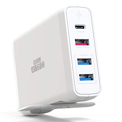 KSW KINGDO 60W USB Type C PD Ladegerät, 75W WandLadegerät mit Power Delivery mit 18W USB und 2 USB 3.0 Ports - kompatibel mit MacBook Pro,iPhone,Nexus 5X/6P,Samsung Galaxy und weitere Geräte