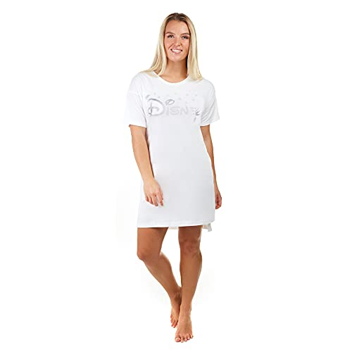 Disney Logo Sleep Tee Chemise De Nuit, Blanc (White WHT), (Taille Fabricant: Small) Femme