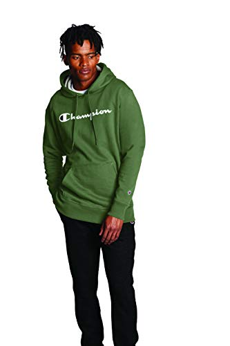 Champion Men's Reverse Weave Pull Over Hood-Print, Cargo Olive - Script, Small