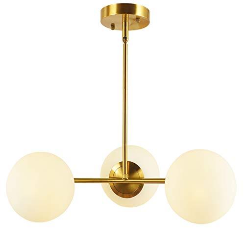 BAODEN 3 lampor glob pendellampa mitten av århundradet ljuskrona modern hängande ljusarmatur borstad mässing ytbehandlad med vit glob glas lampskärm (guld)