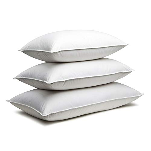 Zisa Dreams Firm Down and Feather Pillow | for Best Head/Neck Support, Hypoallergenic, w/ 100% Dual-Layered Cotton (Includes 4 Pillows, Size: Standard)