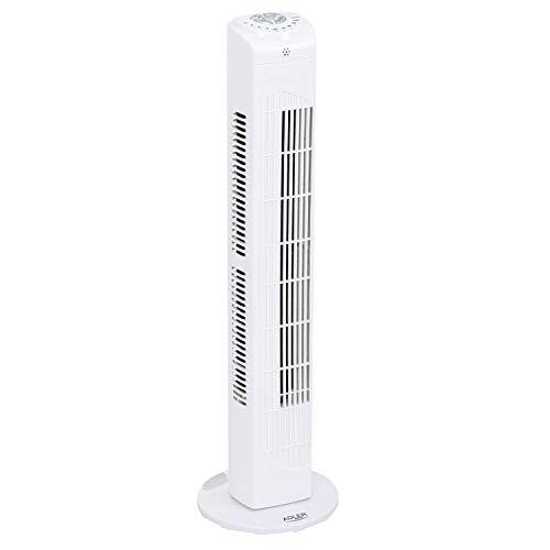 ADLER AD 7319 Turmventilator mit Fernbedienung, 3 Geschwindigkeitsstufen, 90°oszillierend, 77 cm, Timer, Säulenventilator, Standventilator, Ventilator, Turmlüfter, weiß