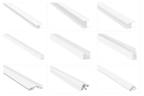 HEXIM Einfassprofile für Verkleidungspaneele - H-/ U-/ & Winkelprofile, PVC Kunststoff - (U-Profil HJ 374, 10x37 mm) Fensterprofil Kunstoffleiste