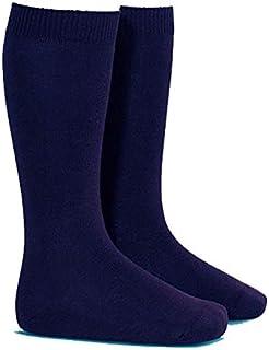Calcetines azules para el colegio. Alto hasta rodilla. Lisos - Pack 4 pares