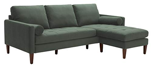 "Rivet Aiden Mid-Century Sectional with Tapered Wood Legs, 86""W, Hunter Green"