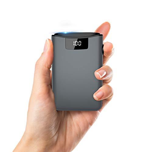 Mini Powerbank 10.000 mAh batería externa cargador portátil USB C Power Bank, pantalla LED, 3 entradas y 2 salidas de carga rápida, batería de alta capacidad para iPhone, Huawei, Samsung, Nexus y más