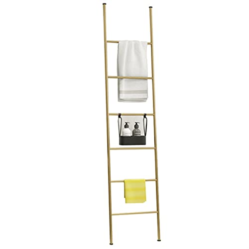 Ladilla de toalla de toalla de metal que se inclina en la pared de la pared de la pared de la pared con 6 barras de soporte de oro de pie libre de pie de la escalera de almacenamiento decorativos de l