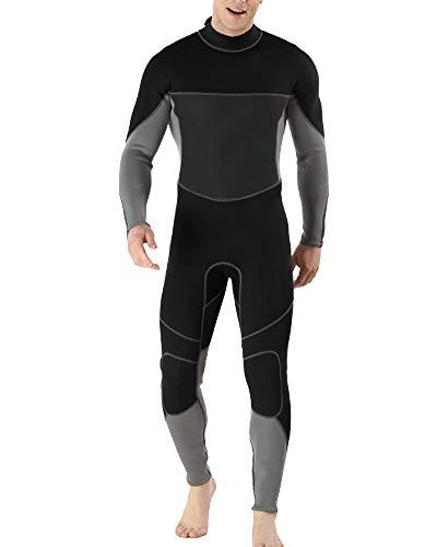 YOUCAI Herren 3MM Winterneoprenanzug Neoprenanzug - Konturfit, verstellb. Ausschnitt, hält Körperwärme, einteilig Tauchanzug,Wasserdicht und Warm MY094 S