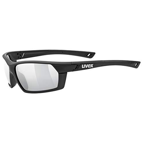 uvex Unisex– Erwachsene, sportstyle 225 Sportbrille, black mat/silver, one size