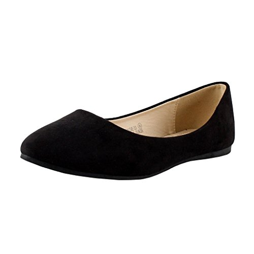 Bella Marie Womens Classic Pointy Toe Ballet Slip On Flats-Shoes, Black Suede, 6.5