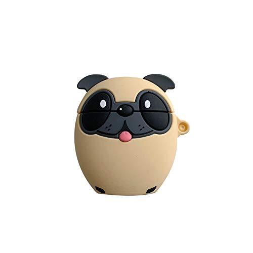 Llavero Lindo De La Dibujos Animados Pug Perro Inalámbrico Bluetooth Suave Caso Del Auricular Llavero Para Accesorios