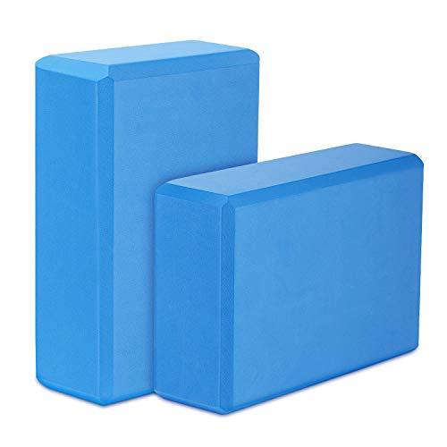 MoKo Yoga Bloques (2 Paquete) - 22.86 x 15.24 x7.62 cm Yoga Ejercicio Ladrillos de Alta Densidad EVA Foam, Protección Ambiental y Ligero, Ideal para el Estiramiento y la Celebración Poses - Azul