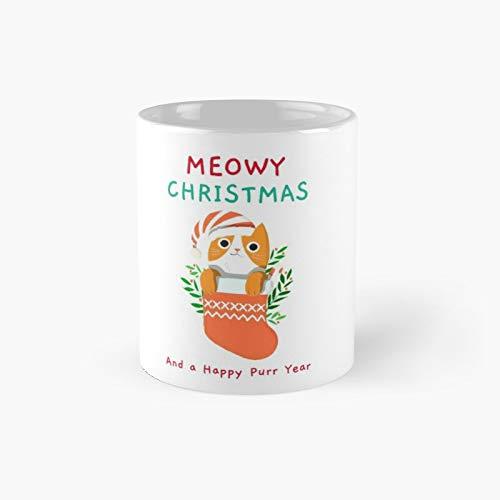 Taza clásica con texto en inglés 'Happy Christmas Cat Lovers', con texto en inglés 'Happy Christmas Cat Lovers'