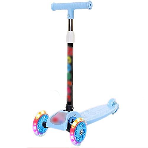 Patinete freestyle Scooter de 3 ruedas para niños, niños / niños pequeños juguete plegable scooters con altura ajustable, cubierta antideslizante, luces de rueda intermitente, para niños / niñas de 2