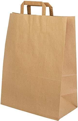 DeinPack Umweltschonende Papier Tragetaschen groß I Papiertüten Geschenktüten Papiertragetaschen biologisch abbaubar, kompostierbar I 50 x braune Papier Tüten 32 x 16 x 39 cm