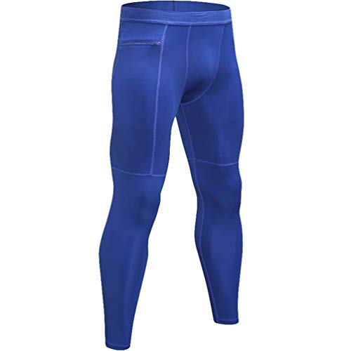 JEELINBORE Sporthose mit Reißverschlusstaschen Trainings Tights Jogginghose Fitness Kompressionshosen Strumpfhosen Sportleggings für Herren - Blau, CN 2XL