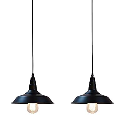2 Pack Black Rustic Hanging Pendant Light Industrial Barn Ceiling Light Fixtures Kitchen Farmhouse Dining Room Warehouse Lighting