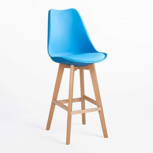 SKLUM Taburete Alto Nordic Polipropileno - Madera Mate Azul Cian - (Elige Color)