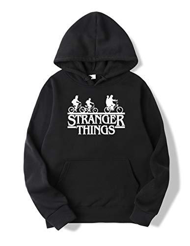 Sudadera Stranger Things Mujer, Sudadera Stranger Things 3 Niña Stranger Things Sudadera de Deporte Hombres Casual Niños Stranger Things Impresión Suéter Jersey (Negro-Blanco,M)