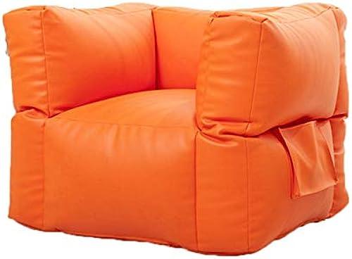 Quadratische Sitzs e und Leder PU Lazy Sofa Indoor Chair MultiFarbe Optional (Farbe   BEIGE, Größe   27.6  27.6  31.5IN)