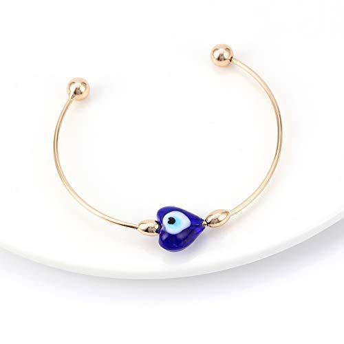 Nobrand Glas Evil Eye Armreif Armband Herz Gold Kupfer Armreif Luxusschmuck Für Frauen Frauen Armband Verstellbar