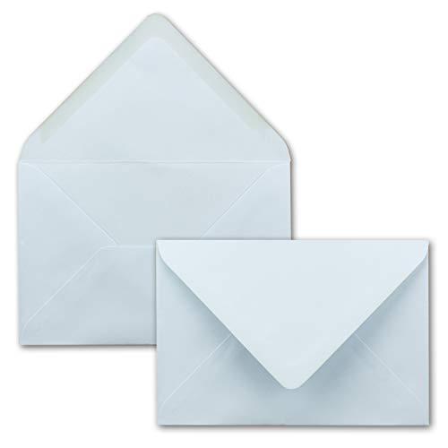 50 Umschläge DIN B6 - hell-blau I Spitze Klappe I 182 x 120 mm I 90 g/m² I Nassklebung ohne Fenster I Edle hochwertige Briefumschläge für Hochzeit und Einladungskarten