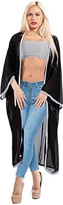 LA LEELA Women's Plus Size Kimono Cardigan Vintage Cover Up US 14-26W Black_X956 from La Leela