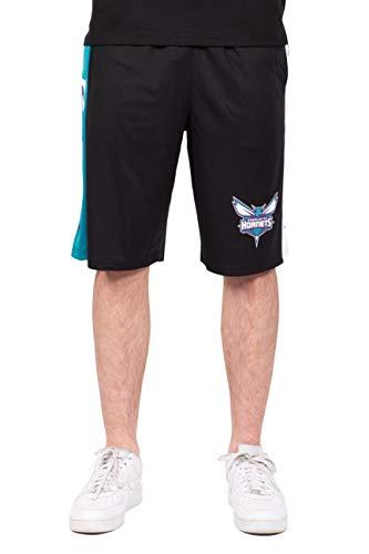 Ultra Game NBA Charlotte Hornets Mens Mesh Basketball Shorts, Black, Large