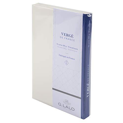 G.Lalo 25100L Karten Set Vergé de France (25% Hadern mit 10 Karten Vergé Papier 300 g, 107 x 152 mm, mit geradem Schnitt, 10 Umschläge, weiß gefüttert, 114 x 162 mm, weiß, 1 Pack)
