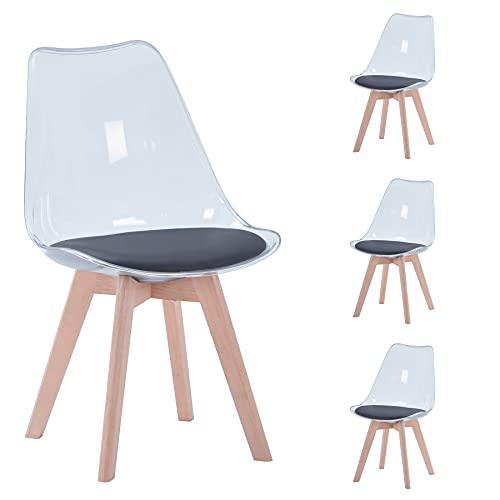 BenyLed Lot de 4 chaises de Salle à Manger de Style scandinave, Design rétro, chaises latérales en Acrylique Transparent, Chaise en Cristal avec Coussin d'assise en PU (Noir)