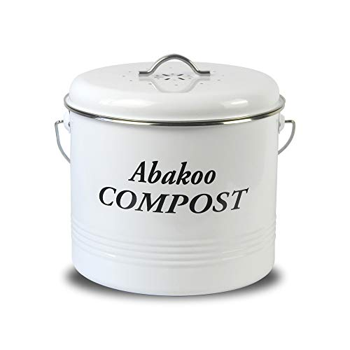 Abakoo Compost Bin for Kitchen Counter 1.5 Gallon Powder-Coated Carbon Steel | Kitchen Pail with Lid, Trash Keeper Container Bucket, Recycling Caddy