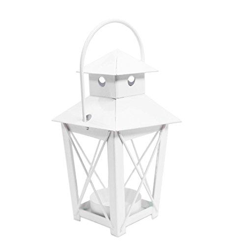 Lanterna Mini Incrocio Bianca, forma piramidale. Dimensioni di 6 x 11 cm di altezza base 5 x 5 cm. Realizzata in metallo è utile come lanterna, porta confetti, porta candela o decorazione