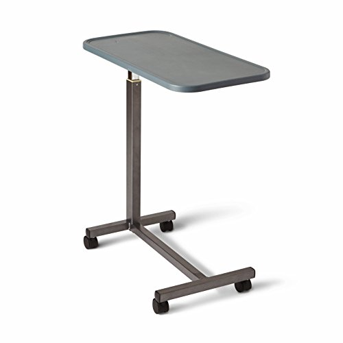 Medline - MDS107015 - n Adjustable Overbed Bedside Table with Wheels, Great for Hospital Use or At Home as Bed Tray, Composite Table Top
