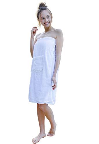 Carenesse Sauna-Kilt Damen mit praktischer Tasche und Klettverschluss, 100% Baumwolle, 80 x 140 cm