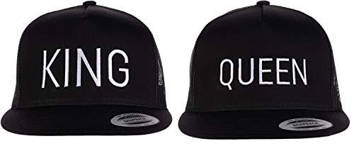 King & Queen Matching Hats | Couples Caps for Mr. Mrs. Husband Wife Boyfriend Girlfriend-(Trucker, Black)