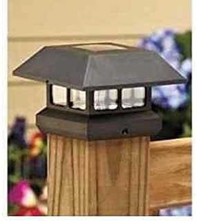 Black Solar Powered LED Plastic Post Cap 3.5 in X 3.5 in Includes 1aa High Powered Rechargeable Battery