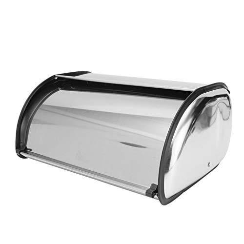 Hemoton Bread Bin Roll Top Stainless Steel Bread Container Sliver Bread Storage Holder Organizer Heat Insulated Bread Keeper 13.4 x 8.3 x 5.9 in