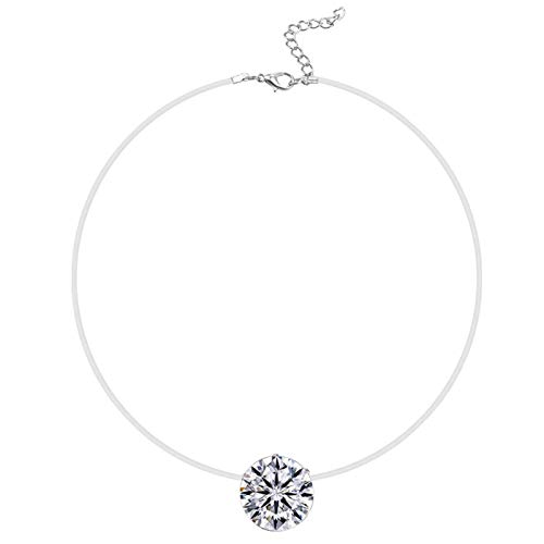 Women Fashion Elegant Simple Rhinestone Charm Fish Line Necklace for Party Holiday Jewelry Gift - White
