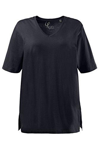 Ulla Popken Damen T-Shirt, V-Ausschnitt, Blau (Blau 71), 50/52