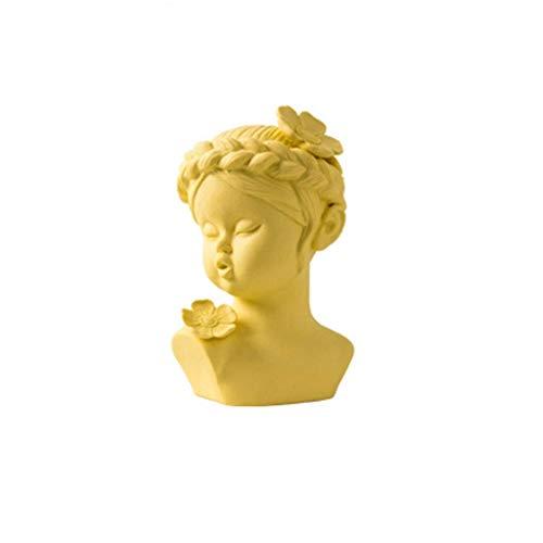 YUMEI Decoración creativa del hogar Habitación moderna minimalista nórdico Creative Living Modelo Avatar Decoración de disparo yeso Puntales Adornos estatua estatuas (Color: Gris) ( Color : Yellow )