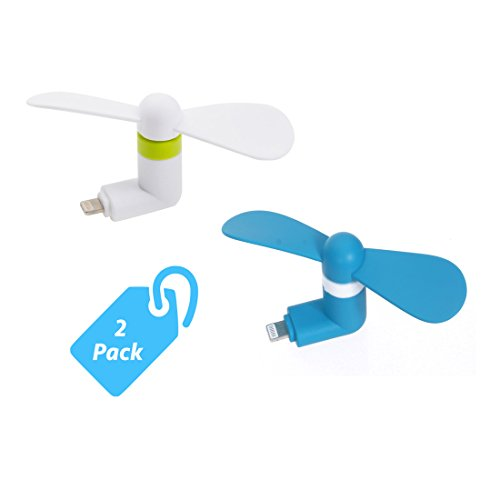 StyleTech Inc. Portable Cool Mini Rotating Fan for Apple Lighting Port Compatible with iPhone/iPods/iPad (2.) White + Blue)