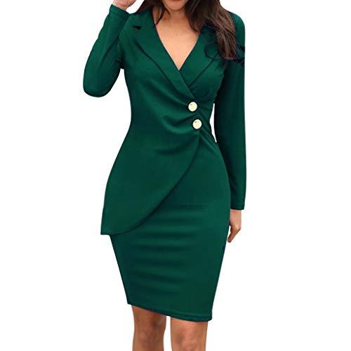 LUCKYCAT Negocio Vestido Mujer Cuello Redondo Vestido