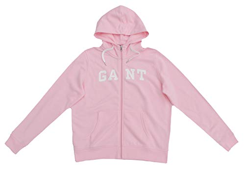 GANT Sudadera para mujer con capucha y logo con cremallera completa, color rosa Rosa California Pink XL