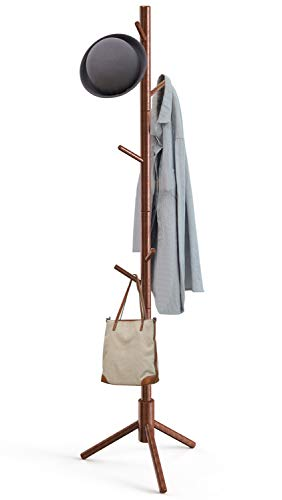 Pipishell Sturdy Wooden Coat Rack Stand, 3 Adjustable Sizes Coat Tree with 8 Hooks, Hallway/Entryway Hat Hanger for Clothes, Accessories, Used in Bedroom, Office, Hallway, Entryway, Bedroom, Brown