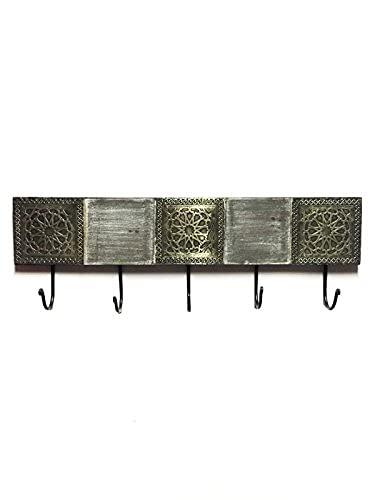 Vintage Garderobe Kleiderhaken Amolika Groß 50cm groß 5er Haken   Hakenleiste Wandhaken für die Wand oder Tür   Kleiderhakenleiste Garderobenhaken aus Metall   handtuchhaken im Bad oder Küche
